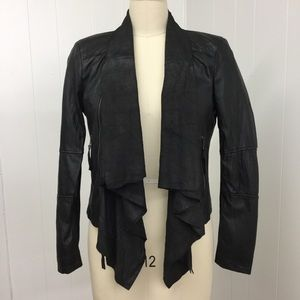 Zara Black Leather Moto jacket Sz L